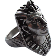 Vintage Egyptian Pharoah Ring - Large Size - Heavy and Detailed -