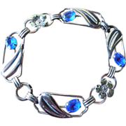 Vintage Sterling Silver Bracelet With Blue Stones - Providence Stock Co