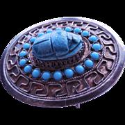 Silver Scarab Pendant Brooch - Egyptian Revival
