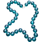 Gorgeous Vintage Teal Necklace Beads Strung on Chain