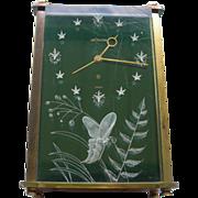 Lecoultre Clock Lucite W 3D Butterfly Design - Green Face Alarm & Music Box