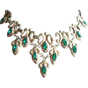 Vintage Bib Necklace Signed Barclay - Green Crystals With Snake Chain