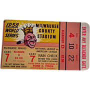 SOLD 1958 World Series Baseball Ticket Stub Bleacher D Game 7 NY Yankees Vs Braves
