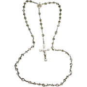 Beautiful Vintage Crystal Rosary Signed Sterling Cross - Capped Beads