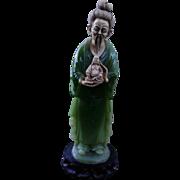 Large Vintage Faux Jade & Ivoroid Statue - Chinese Man Holding Seated Buddha