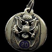 SALE Vintage Sterling Silver Military 20 Service Pendant Blue Enamel W American Eagle