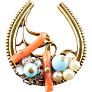 Vintage Coro 1949 Horseshoe Brooch - Coral, Blue Glass Beads, Rhinestone & Faux Pearl