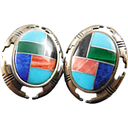 Carolyn Pollack Relios Sterling Silver Earrings With Inlaid Coral Onyx Malachite Turquoise ...