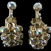SALE Beautiful Vintage Earrings With Dangling AB Crystal Rhinestones