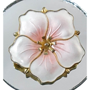 Sterling Pink Enamel Norway Flower Brooch Signed Aksel Holmsen