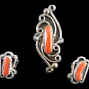 Signed Native American Navajo Sterling Coral Ring & Earrings Set - Rose Castillo Draper