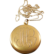 Victorian Locket - Large Round Initialed - Signed W&SB 1/4 Gold Shell