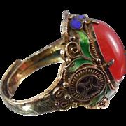 Vintage Gilt Silver Chinese Enamel Large Ornate Ring w Orange Glass Stone