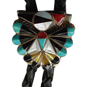 Vintage Native American Zuni Peyote Bird Bolo Tie With Inlaid Stones and Shell - RL Image ...
