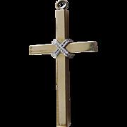 Lovely Signed Vintage Two Tone Gold Crucifix - Gold Filled Signed TK (Tru Kay)