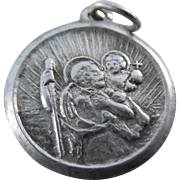 Vintage Sterling Silver Saint Christopher Be My Guide Medal signed Mexico Silgo