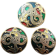 Signed Miracle Sol d'or Celtic Dragon Set Pendant / Brooch Earrings