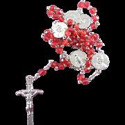 Beautiful Pope John Paul II Rosary With Red Crystal Cut Plastic Beads