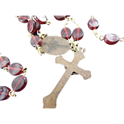 Beautiful Vintage Saint Therese Rosary - Flat Red Lucite Beads