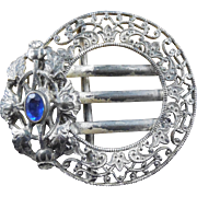 Antique Ornate Buckle With Blue Stone Signed