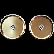 Signed Anson Diamond Cufflinks Round 12K Gold Filled - Tested Diamonds
