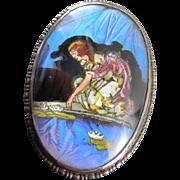 1924 England Sterling Butterfly Wing Brooch Girl Pond Lilypads - Fairy Tale Scene