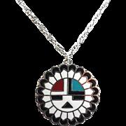 Vintage Enamel Native American Hopi Sun Symbol Pendant Necklace