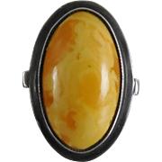 Vintage Baltic Egg Yolk Butterscotch Amber Ring Size 7.5