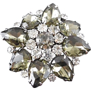 Large Vintage Brooch Smoky Gray and Clear Rhinestones - Circa 1960's