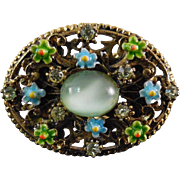 Lovely Vintage Signed ART Enamel, Moonglow and Rhinestone Scarf Ring