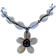 Vintage Tropical Look Cowry Shell Necklace with Flower Pendant