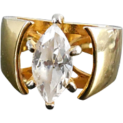 Lovely Faux Diamond Marquise Cut Solataire Ring In Golden Setting
