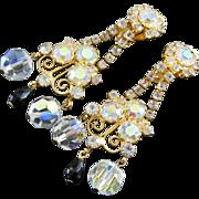 "Long Vintage Earrings 3"" -Fabulous Flash and Sparkle!"