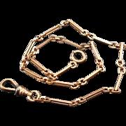 Signed Antique Pocket Watch Chain Fancy Links W&SB W. & S. Blackinton Co