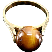 10K Gold Tigers Eye Ball Ring - Hard To Find Larger Size 9
