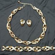 Fabulous Modernist Alfred Phillippe Crown Trifari Set; Necklace, Bracelet, Earrings
