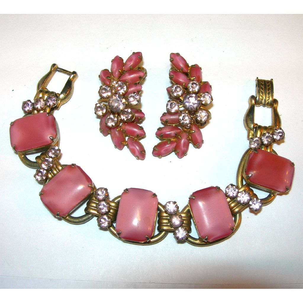 Gorgeous Juliana Pink and Purple Bracelet with Matching Earrings