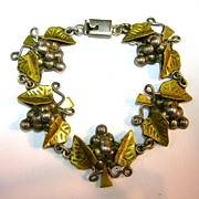 Gorgeous Golden and Silver Mexican Bracelet - Grapes and Leaves - Signed TD-04 Laton