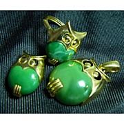 A Trio Of Trifari Owls - Green Lucite Collection - Ring Brooch Pendant