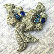 Gorgeous Deep Blue and Clear Rhinestone Flower Brooch - Pot Metal Circa 1930s
