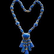 Czech Blue Faux Lapis Bead Dangle Necklace