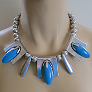 SALE Modernist vintage 1980's silver tone and blue tribal bib necklace