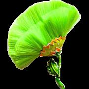 Hattie Carnegie Neon Green Fiber Flower Enamel Brooch