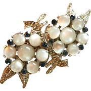 Vintage Coro Duette Dress Clips Pave Rhinestones and Moonglow Cabochons