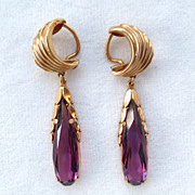 SALE French Rolled Gold Plated Faux Purple Amethyst Dangle Clip Earrings