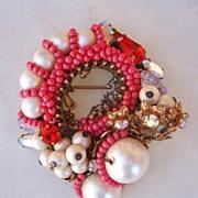 SALE Fabulous Coral Colored Bead, Faux Pearl & Rhinestone Pin