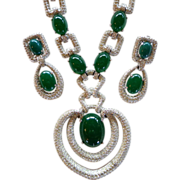SALE Couture Runway Mazer Jomaz Faux Jade & Rhinestone Necklace Set
