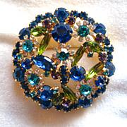 Vintage D&E Juliana Capri Blue, Olive Green, Teal, and Purple Rhinestone Brooch