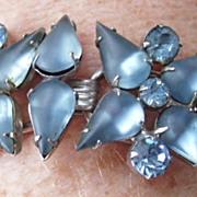 SALE Vintage Juliana D&E satin blue rhinestone bracelet ~ book piece!