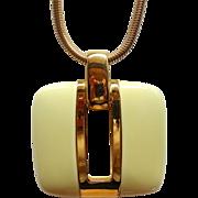 SALE Vintage Lanvin Modern Creamy Lucite Pendant Necklace